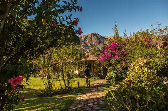 Gardens in the Sol y Luna Hotel & Spa with views of the Andes