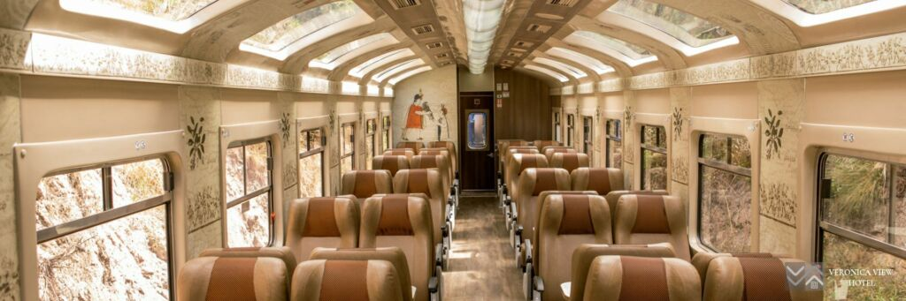 Interior of Expedition Train (PeruRail) with panoramic windows used for the route Ollanta - Machu Picchu - Ollanta