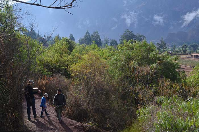 Father & son with guide walking along paths in Inkaterra Urubamba for birdwatching