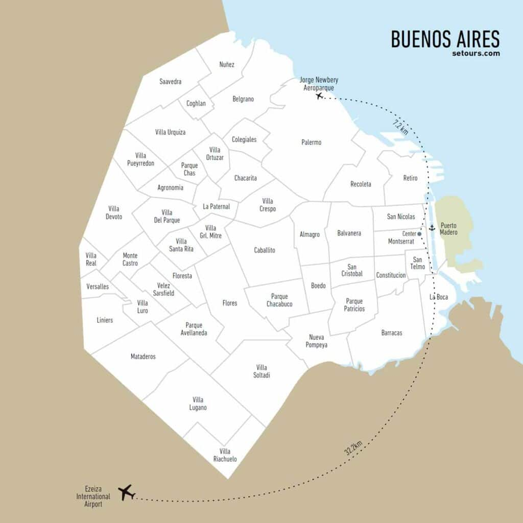 Map of Buenos Aires and its districts
