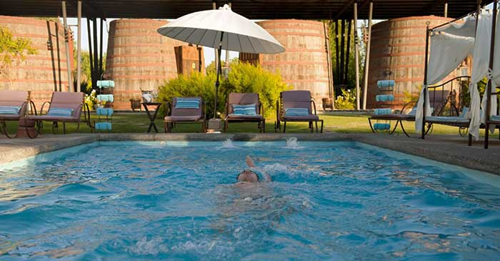 Santiago's Vineyards - Guest swimming in the pool of Cava Colchagua's pool