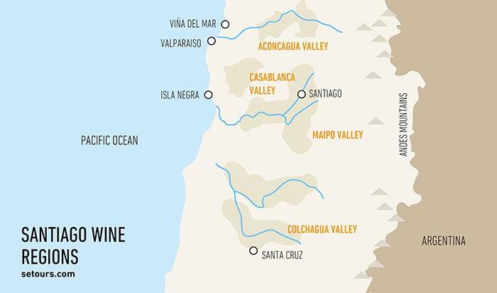 Santiago's Vineyards - Map displaying the wine valleys close to the Chilean capital