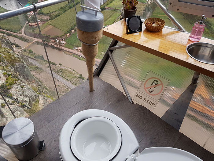 Bathroom at one of the pods of Skylodge Peru overlooking the Sacred Valley
