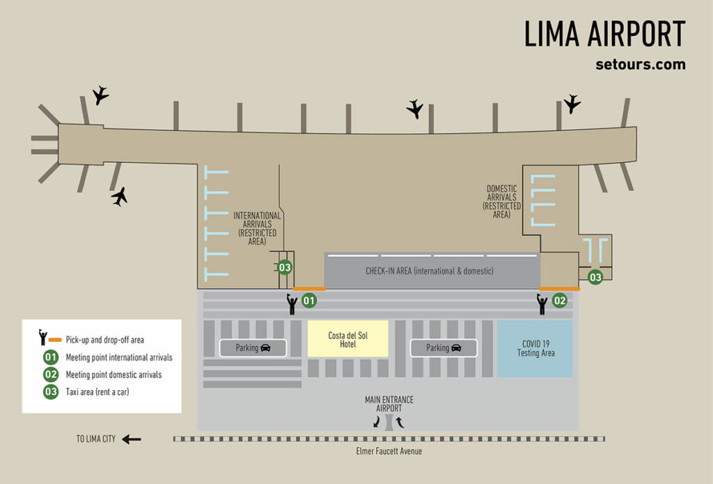 Map showing international and domestic arrivals, as well as pick up & drop off area at Lima Airport