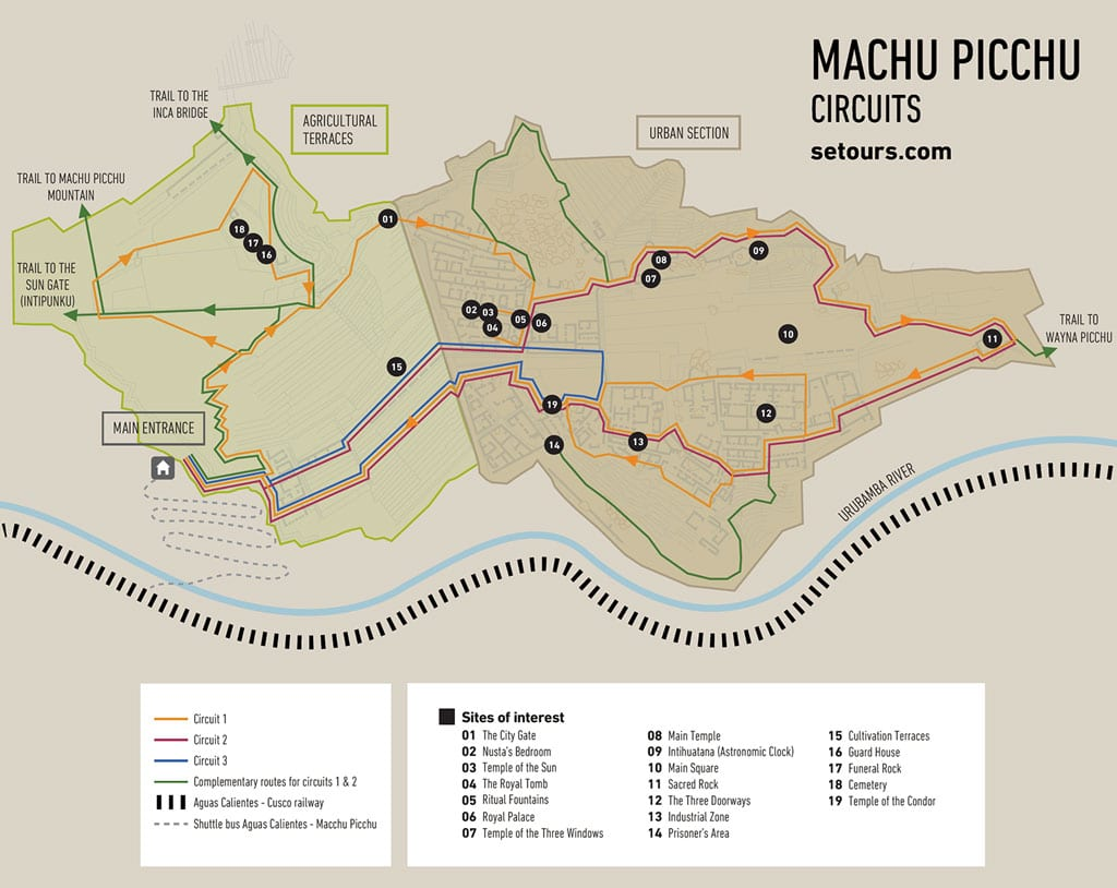 Map of Machu Picchu showing the three current circuits available for visit