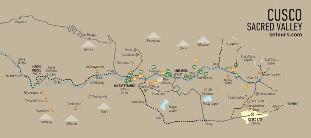 Map of the points of interest in the Sacred Valley, Cusco, Inca Trail and Machu Picchu